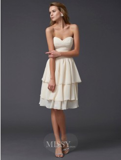 Sweetheart Sheath Chiffon Sleeveless Knee-Length Dress