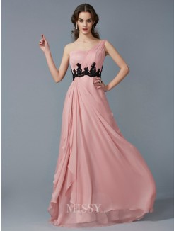 A-Line One-Shoulder Sleeveless Applique Beading Chiffon Floor-Length Dress