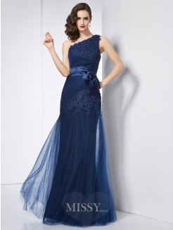 A-Line One-Shoulder Sleeveless Applique Organza Dress