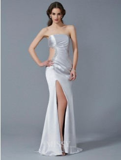 Mermaid Strapless Sleeveless Beading Elastic Woven Satin Sweep/Brush Train Dress