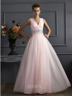 Ball Gown V-neck Sleeveless Beading Floor-Length Net Dress