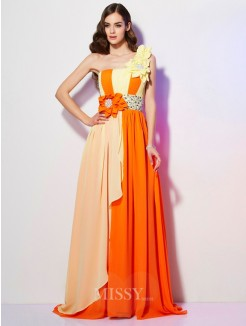 A-Line One-Shoulder Sleeveless Sweep/Brush Train Chiffon Beading Dress