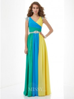A-Line V-neck Short Sleeves Beading Floor-Length Chiffon Dress