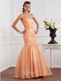 Mermaid Sleeveless Strapless Beading Tulle Floor-Length Dress