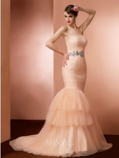 Mermaid Strapless Sleeveless Beading Sweep/Brush Train Net Dress