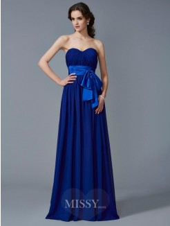 A-Line Sweetheart Sleeveless Pleats Chiffon Floor-Length Dress