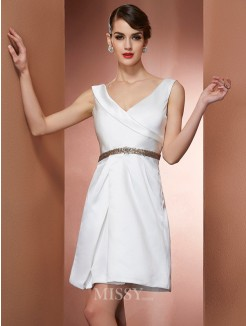 A-Line Straps Sleeveless Satin Beading Mini Dress