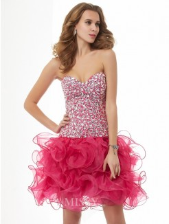 Sweetheart Sheath Sleeveless Organza Beading Mini Dress