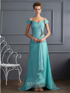 A-Line Off-the-Shoulder Sleeveless Beading Sweep/Brush Train Chiffon Dress