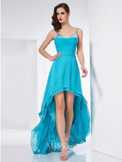 A-Line Spaghetti Straps Sleeveless Chiffon Asymmetrical Dress