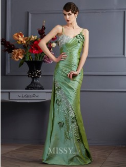 Mermaid Taffeta Sleeveless Beading Spaghetti Straps Floor-Length Dress