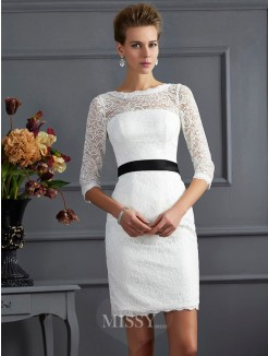 Sheath Scoop 3/4 Sleeves Mini Lace Sash/Ribbon/Belt Dress