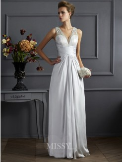 A-Line Straps Sleeveless Beading Silk like Satin Floor-Length Dress