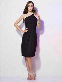 Sheath One-Shoulder Sleeveless Knee-Length Chiffon Dress With Beading