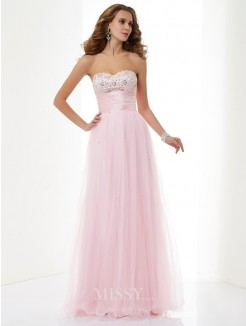 A-Line Sweetheart Sleeveless Beading Elastic Woven Satin Floor-Length Dress