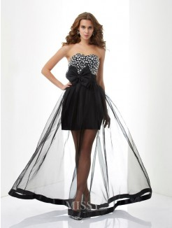 A-Line Sweetheart Beading Sleeveless Organza Floor-Length Dress