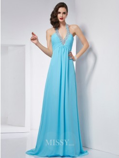 A-Line Halter Sleeveless Chiffon Sweep/Brush Train Dress
