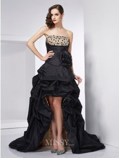 A-Line Strapless Sleeveless Beading Taffeta Asymmetrical Dress