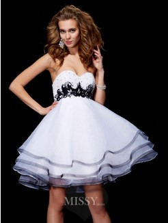 A-Line Sweetheart Sleeveless Applique Organza Mini Dress