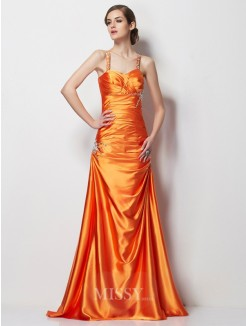 A-Line Spaghetti Straps Beading Sleeveless Satin Sweep/Brush Train Elastic Woven Dress