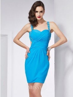 Sheath Spaghetti Straps Sleeveless Beading Mini Chiffon Dress
