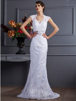 Mermaid Sleeveless Satin Applique Sweep/Brush Train Wedding Dress