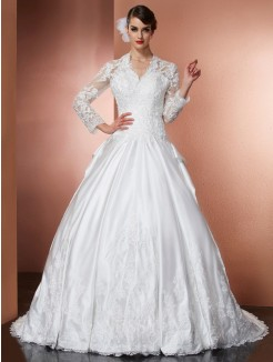 A-Line V-Neck Long Sleeves Applique Cathedral Train Satin Wedding Dress