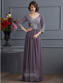 A-Line V-neck 3/4 Sleeves Beading Floor-Length Chiffon Dress