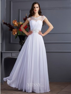 A-Line Chiffon Bateau Short Sleeves Floor-Length Beading Dress