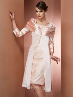 Sheath Square Sleeveless Knee-Length Elastic Woven Satin Dress