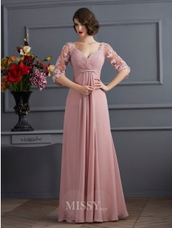 A-Line Sweetheart 1/2 Sleeves Floor-Length Applique Chiffon Dress
