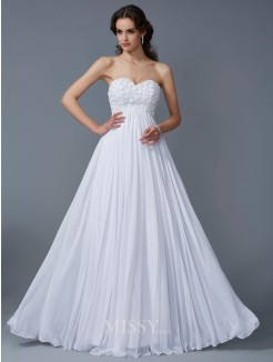 A-Line Sweetheart Sleeveless Ruffles Chiffon Floor-Length Dress