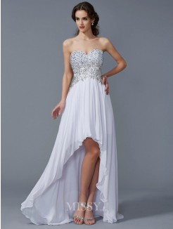 A-Line Sweetheart Sleeveless Beading Asymmetrical Chiffon Dress
