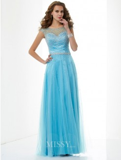 Sheath High Neck Beading Sleeveless Floor-Length Net Dress