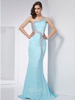Mermaid One-Shoulder Sleeveless Beading Sweep/Brush Train Chiffon Dress