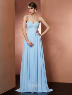 A-Line Sweetheart Beading Sleeveless Floor-Length Chiffon Dress