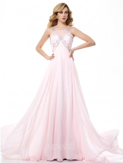 Beading A-Line Sleeveless Scoop Chiffon Sweep/Brush Train Dress