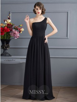 A-Line One-Shoulder Sleeveless Floor-Length Chiffon Dress