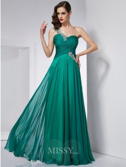 A-Line One-Shoulder Sleeveless Chiffon Floor-Length Dress