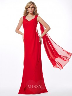 Sheath Straps Sleeveless Floor-Length Beading Chiffon Dress