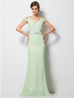 A-Line V-neck Sleeveless Beading Sweep/Brush Train Chiffon Dress