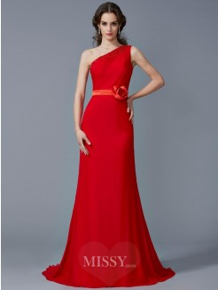 A-Line One-Shoulder Sleeveless Beading Sweep/Brush Train Chiffon Dress