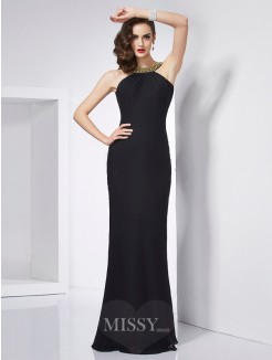 Mermaid Jewel Sleeveless Beading Floor-Length Chiffon Dress