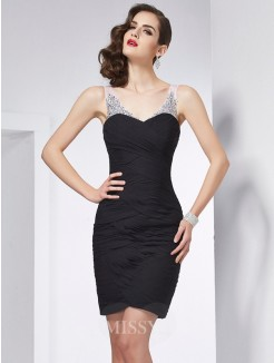 Sheath Straps Sleeveless Beading Mini Chiffon Dress