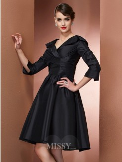 A-Line V-neck 3/4 Sleeves Mini Taffeta Dress