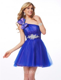 A-Line-Line/Princess One-Shoulder Beading Sleeveless Mini Net Dress