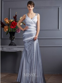 Mermaid Straps Sleeveless Pleats Floor-Length Satin Dress