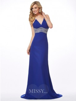 A-Line V-neck Beading Sleeveless Sweep/Brush Train Chiffon Dress