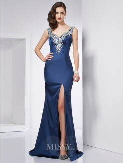 Mermaid Straps Sleeveless Beading Elastic Woven Satin Sweep/Brush Train Dress