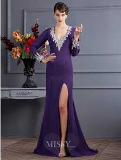 Sheath Long Sleeves V-neck Chiffon Beading Sweep/Brush Train Dress